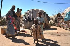 Camp for African refugees and displaced people on the outskirts of Hargeisa in Somaliland under UN auspices. Royalty Free Stock Photos