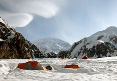 Camp in Alaska. Denali. Camp in Alaska. Against the backdrop of Mount Denali Stock Image