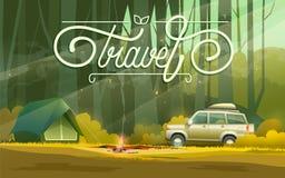 Camp avec la voiture et la tente illustration de vecteur