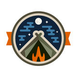 Camp badge. Round camping tent badge icon with night sky Stock Photography
