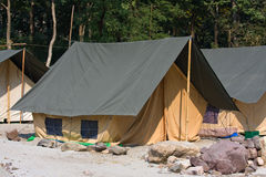 Camp on the banks of the Ganges River. Royalty Free Stock Image