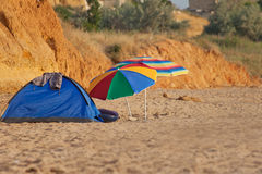 Camp on the beach Stock Images