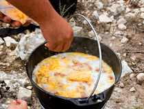 Camp breakfast Stock Images
