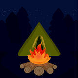 The camp campfire at travel night. Illustration Royalty Free Stock Photography