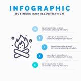 Camp, camping, le feu, chaud, ligne icône de nature avec le fond d'infographics de présentation de 5 étapes illustration stock