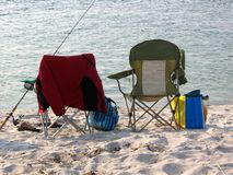 Camp chairs and fishing on the Beach Royalty Free Stock Photo