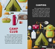 Summer camp club vector posters for forest camping. Camp club or camping adventure posters of scout tools and hiking accessories. Vector flat design of camp tent Stock Images