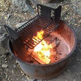 Camp cooking fire Royalty Free Stock Photos