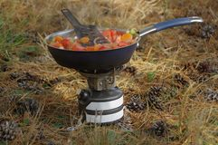 Camp cooking. Hot meal on pan on the survival stove. Camp cooking royalty free stock photos