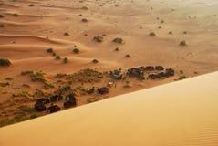 Camp couvert sur le désert. Erg Chebbi, Sahara, Maroc images libres de droits