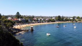 Camp Cove Beach, Sydney Harbour, Australia. Summer morning swimming at Camp Cove yellow sand beach, Watsons bay, Sydney Harbour, NSW, Australia, with small white stock video footage