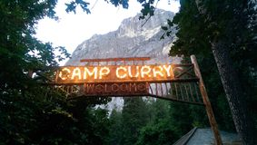 Camp Curry entrance sign. Yosemite national park Royalty Free Stock Image