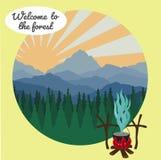 Camp dans la forêt Image stock