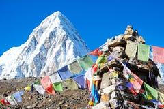Camp de base montagne d'Everest de crête de montagne de la plus haute dans le worl Images libres de droits