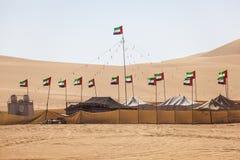 Camp de désert dans l'oasis de Liwa Photos stock