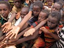 Camp de réfugié de faim photographie stock
