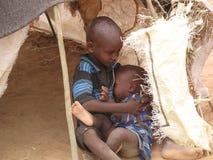 Camp de réfugié de faim de la Somalie photo stock