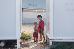 Camp de réfugié de Lagadikia, Grèce Photographie stock