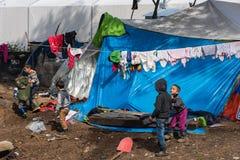 Camp de réfugié en Grèce Image libre de droits
