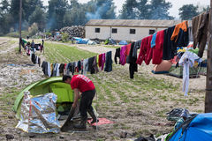 Camp de réfugié en Grèce Photographie stock libre de droits