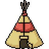 Camp de tente d'art de pixel de vecteur illustration libre de droits