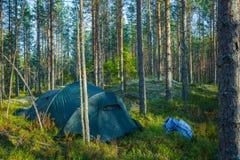Camp de tente dans la forêt Photographie stock libre de droits
