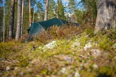 Camp de tente dans la forêt Images libres de droits