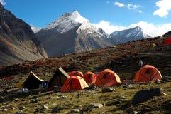 Camp de trekking Photographie stock