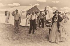 Camp des syndicats de reconstitution de Gettysburg Images stock