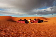 Camp in desert. The bedouins camp in  Sahara, Morocco Stock Images