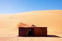 Camp in the desert. Bedouin tent. The traditional lifestyle in Morocco, Africa Royalty Free Stock Image