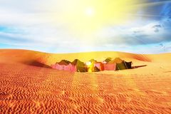Camp in desert Royalty Free Stock Image