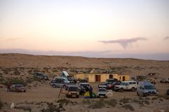 Camp in the desert, Western Sahara Stock Photography