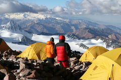 Camp deux - Aconcagua Photos stock