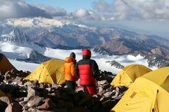 Camp deux - Aconcagua Photos stock