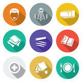 Camp for displaced persons Icons Set. Vector Illustration. Royalty Free Stock Photo