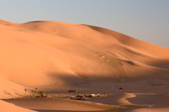 Camp in dunes. Sahara. Tourist camp in desert. Morocco Stock Photo