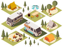 Camp Elements Isometric Set. Isometric set of camp elements with vans tents bonfires chairs tables hammock and umbrella isolated vector illustration Stock Photos