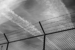 Camp Fence in Black and White. Camp Prison Fence royalty free stock photos