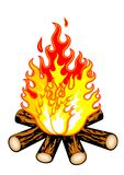 Camp fire. An illustration of camp fire on white background Royalty Free Stock Images