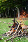 Camp fire. In the middle of the nature Royalty Free Stock Images