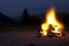 Camp fire. With spectacular moutain view Royalty Free Stock Images