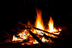 Camp fire at night. A burning camp fire in the night, with small logs and sparks Stock Image