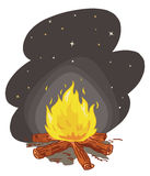 Camp fire vector. Illustration of a camp fire at night + vector eps file Stock Photography