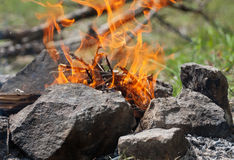 Camp fire. A camp fire in a fire pit at a campsite Royalty Free Stock Images