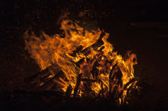 Camp fire. In the night in Mongolia Aisa Royalty Free Stock Photos