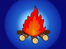 Camp Fire. On a blue background Royalty Free Stock Photos