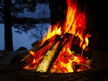Camp fire. A camp fire burning, outdoor night scene Royalty Free Stock Images