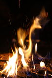 Camp fire. Taken with a slow shutter speed for a dramatic effect royalty free stock photography