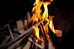 Camp fire. Photo of a camp fire Stock Images